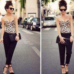 Lejaby corset bustier bra shaper leopard print 36B
